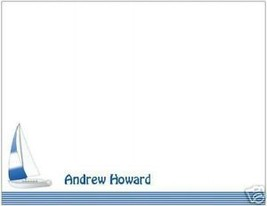 Personalized FLAT Notecards ~ Blue Sailboat ~ NEW! - $13.75