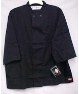 Dickies CW070315A Plastic Button Black Uniform Chef Coat Jacket Large New - $38.37