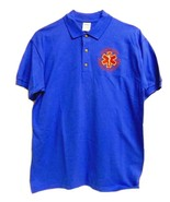 EMT Emergency Medical Technician Star of Life Royal Blue Gold S/S Polo S... - $26.70