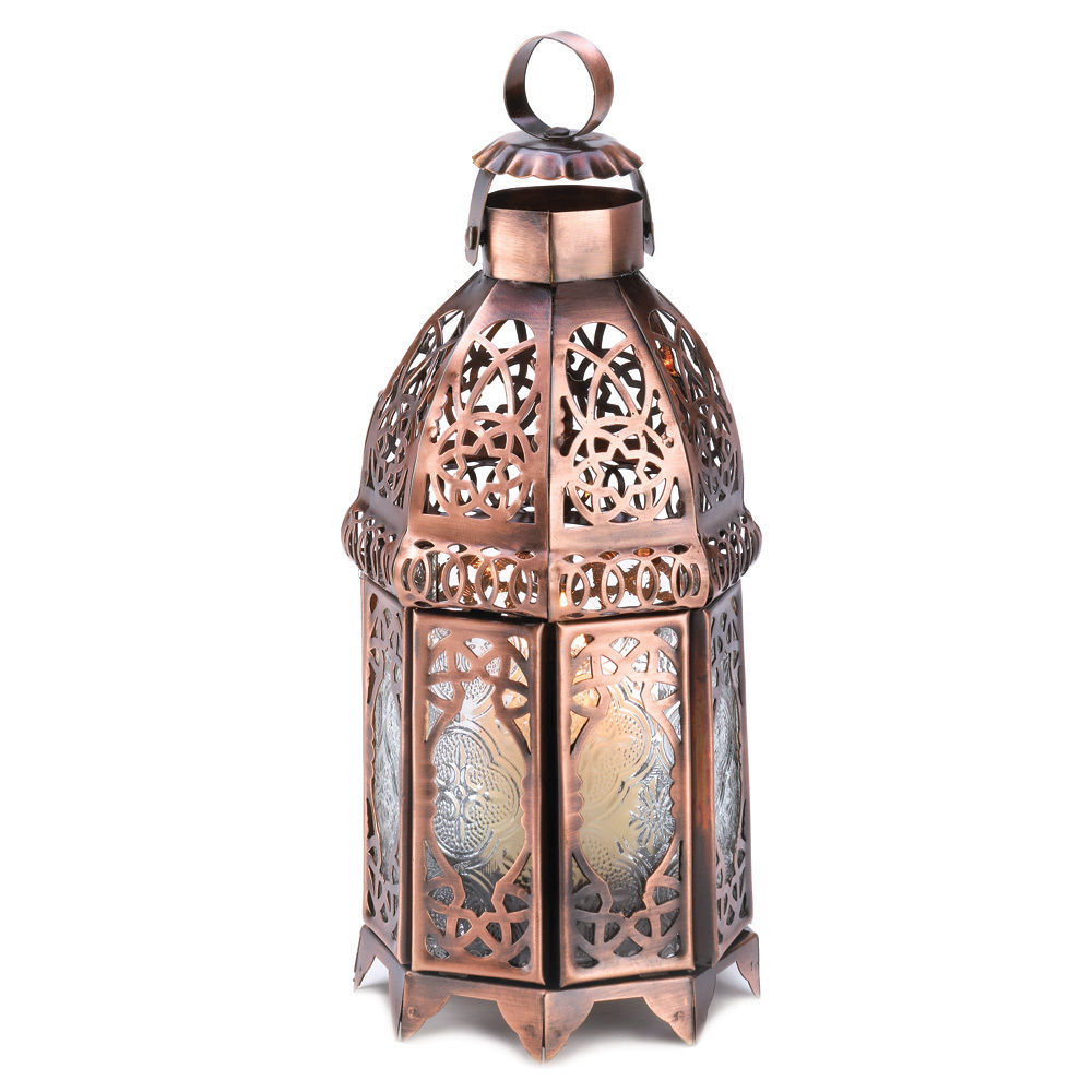 Set of 4 Copper Moroccan Double Door Candle Lamp Lanterns Wedding Party Lights