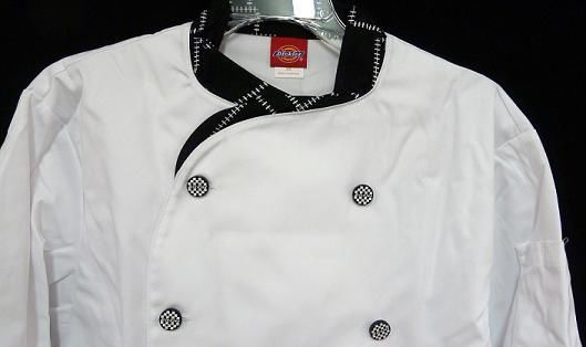 Dickies Executive CW070303CHC Chef Coat Blk White STITCH Trim Button 42 New