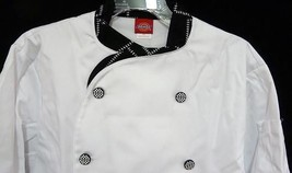 Dickies Executive CW070303CHC Chef Coat Blk White STITCH Trim Button 38 New - $25.45