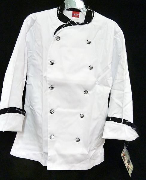 Dickies Executive CW070303CHC Chef Coat Blk White STITCH Trim Button 38 New