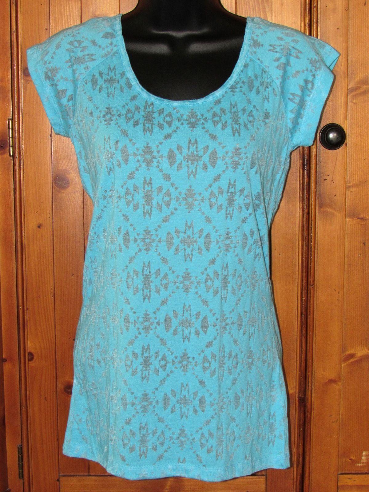 Derek Heart Brite Blue Floral Sheer Top Open Back Braid Design Size: Junior M