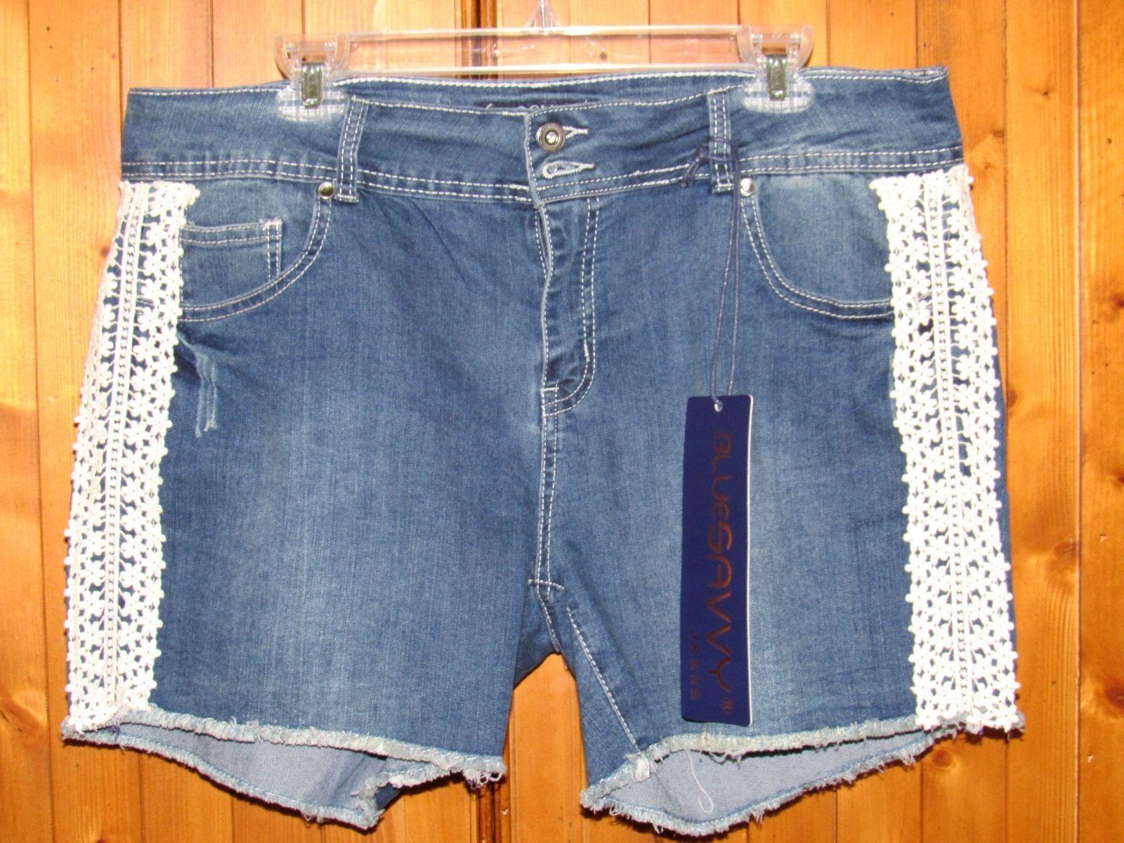 Blue Savvy Jeans Blue Stretch Denim Jeans Shorts Lace Accent Cotton Blend S: 18