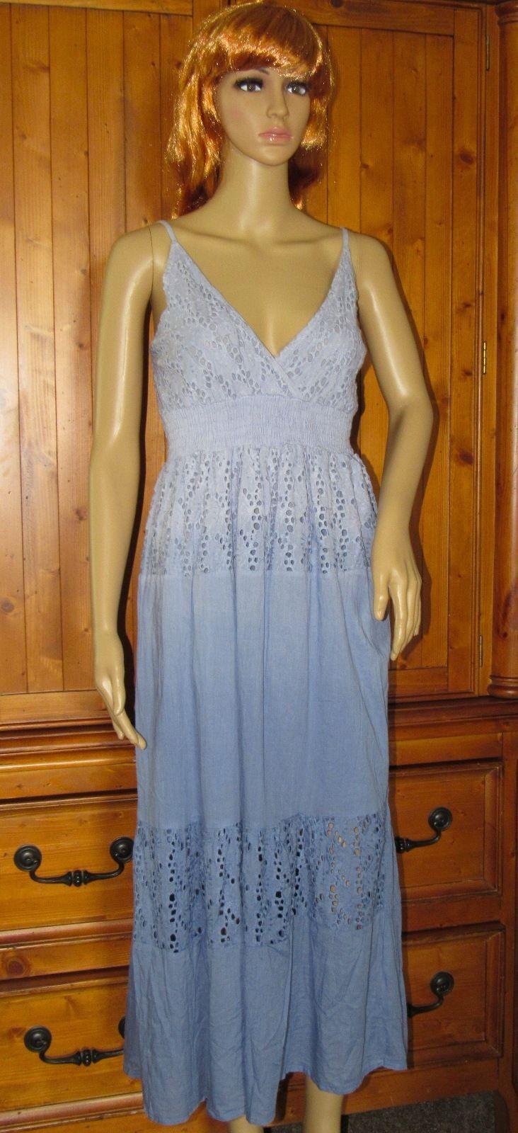 Bella Moda Cotton Blue Floral Sundress Mid-Calf Spaghetti Strap Size: S
