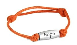 Relay for Life Cancer Engraved Hope Orange Adjustable Nylon Bracelet New - $9.67