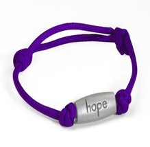 Relay for Life Cancer Engraved Hope Purple Adjustable Nylon Bracelet New - $9.77