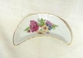 Vintage Japan Decorative Crescent Floral Porcelain Trinket Dish Big Flowers - $29.37