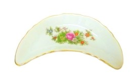 Vintage Japan Decorative Crescent Floral Porcelain Trinket Dish Small Flower - $29.37
