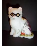 Mosser Glass HALLOWEEN PERSIAN CAT KITTEN HP Ma... - $36.38