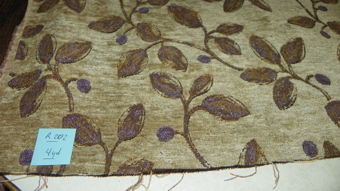 Beige Gold Purple Print Chenille Upholstery Fabric 1 Yard R202