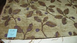 Beige Gold Purple Print Chenille Upholstery Fabric 1 Yard R202 - $31.98