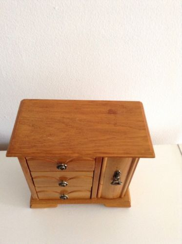 Wooden 3 Drawer Jewelry Box With Swing Side Storage & Ring Holder