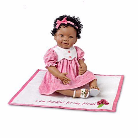 #301377005  *African-American Eden Lifelike Baby Doll With Musical Blanket*