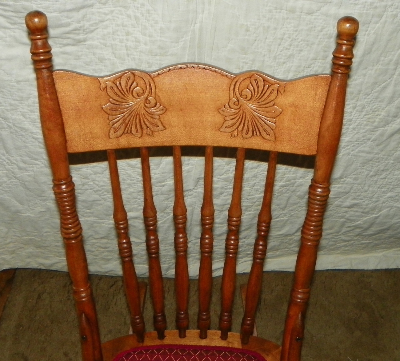 Cherry Carved Sewing Rocker / Rocking Chair  (R97)