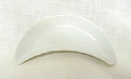 Vintage Decorative Crescent Plain Porcelain Candy Trinket Dish Collectible - $19.17