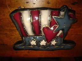 Uncle Sam Metal Painted Hat July 4th Wall Hanging - $9.49
