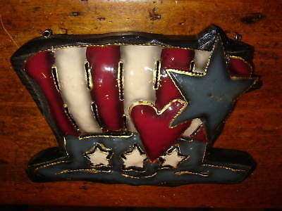 Uncle Sam Metal Painted Hat July 4th Wall Hanging