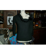 BETTE SUNG Fancy Jet Black Furry Blouse Size S - $9.90