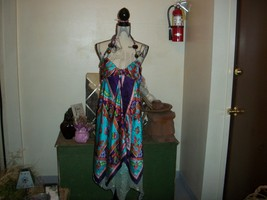 BLUE BEAUTIFUL SILK LAYERED HALTER DRESS [unbranded} Size 6 - $17.82
