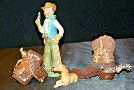 Cowboy Figurine with a Saddle, Cowboy Boot and a Colt figurines AA20-2078 Vintag image 3