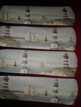 Custom ~ Island Lighthouse Sailboats Ocean Ceiling Fan W/Light ~Soft Watercolor - $99.99