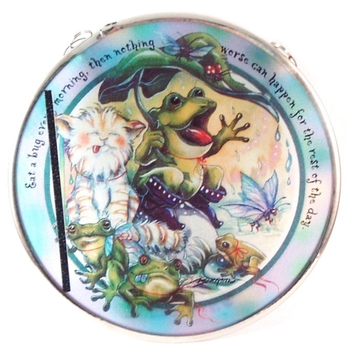 Primary image for Suncatcher Cat Frog EAT A BUG Hand Made Glass By Edenborough Brand
