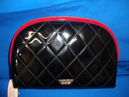 Victoria's Secret Black Shiny Quilted Make Up Cosmetic Bag NEW with tag - $17.77