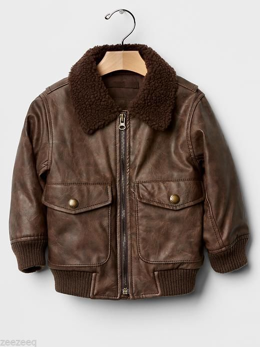 NWT Baby Gap Boys Brown Faux Leather Sherpa Bomber Jacket Sz 5 years