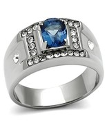 MEN'S SILVER STAINLESS STEEL 1.5 CT OVAL BLUE CUBIC ZIRCONIA RING SIZE 8... - $13.49