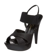 Jessica Simpson Genm Womens Black Leather Open Toe Platforms Heels Shoes... - $35.99