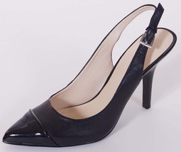Nine West Geordene Womens Black Leather Slingback Cap Toe Pumps Heels Sh... - $65.99