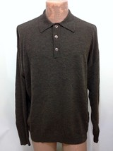 Jhane Barnes Dark Brown Collared 3 Button Wool Pullover Sweater Mens L H... - $47.35