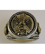 Napoleonic War Eagle Mens Coin ring Sterling Si... - $93.00