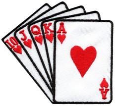Straight flush playing cards biker retro poker applique iron-on patch ne... - £2.24 GBP