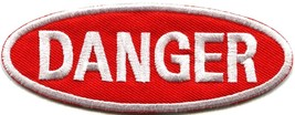 Danger sign signal warning caution alert applique iron-on badge patch ne... - £2.24 GBP