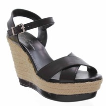 Jessica Simpson Kowloon Womens Black Leather Sandals Platforms Wedges Shoes-9 - $35.19