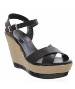 Jessica Simpson Kowloon Womens Black Leather Sandals Platforms Wedges Sh... - $35.19