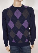 Daniel Bishop Men's Navy 2 Ply Cashmere Argyle Crewneck Pullover Sweater S - $89.99