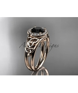 Rose gold and Black diamond engagement ring, Celtic bridal ring, 14kt ro... - $1,455.00