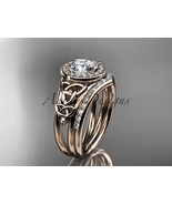 14kt rose gold diamond celtic trinity knot wedding ring, engagement set ... - $1,905.00