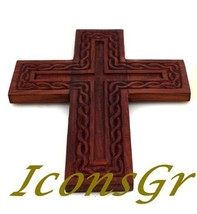Handmade Christian Greek Orthodox Wood Carved Cross / R23 [Kitchen] - $52.87