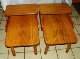 Pair of Solid Oak Mid Century Carved Step End Tables / Side Tables  (T171) - $499.00