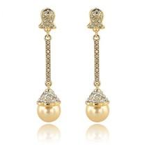 Wedding Pearl Earrings Full Austrian Crystal Bridal Dangle Champagne ear... - $23.05