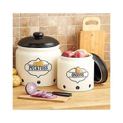 Stoneware Crock Set Canister Vented Onion Potato Storage