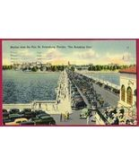 ST PETERSBURG FLA Skyline Pier Cars Linen 1940 FL - $6.50
