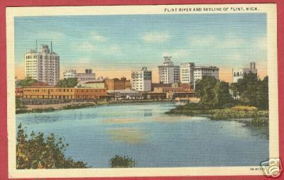 Flint MI River Skyline Linen Michigan Postcard BJs