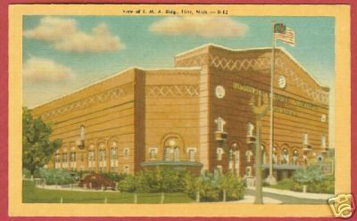 Flint MI IMA Bldg Linen Postcard Michigan BJ