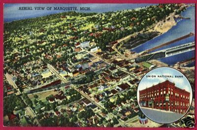 MARQUETTE MICHIGAN Aerial Union Nat'l Bank Linen MI PC